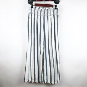 Striped linen blend wide leg cropped pants
